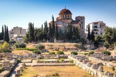 The Agora in Athens, Greece. View over the ruins of the Agora, a major landmark in Athens, the capital of Greece Stock Photos