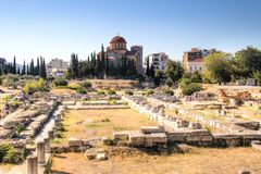 The Agora in Athens, Greece. View over the ruins of the Agora, a major landmark in Athens, the capital of Greece Royalty Free Stock Photography