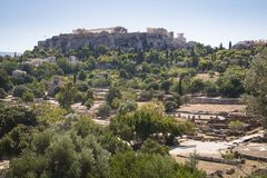 The Agora in Athens, Greece. View over the ruins of the Agora, a major landmark in Athens, the capital of Greece Royalty Free Stock Images