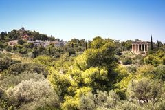 The Agora in Athens, Greece. View over the ruins of the Agora, a major landmark in Athens, the capital of Greece Royalty Free Stock Image