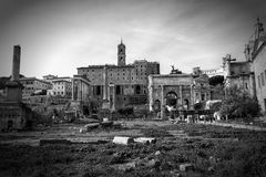 View over the ruins of the Roman Forum Stock Photos