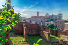 View over the ruins of the Roman Forum Stock Photo