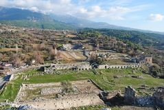 View over the ruins of Tlos in Turkey. Stock Photography
