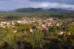 France, Languedoc-Roussillon, Herault, Saint Chinian, St-Chinian, View over. View over rural Saint Chinian, Herault 34, Languedoc-Roussillon, France Stock Photography