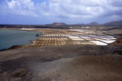 View over salinas. On Lanzarote island stock images