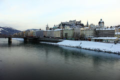 View over the Salzach river at Salzburg Stock Photography