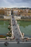 View over San Angelo bridge. Aerial view over San Angelo Bridge in Rome royalty free stock photos