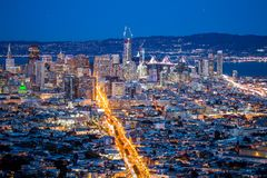View over San Francisco by Night, California in USA.  Stock Photos