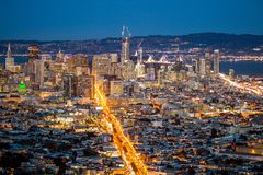 View over San Francisco by Night, California in USA.  Royalty Free Stock Photo