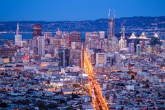 View over San Francisco by Night, California in USA.  Stock Image