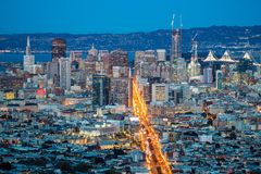 View over San Francisco by Night, California in USA.  Royalty Free Stock Image