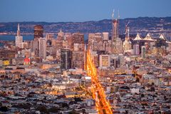 View over San Francisco by Night, California in USA.  Stock Photo