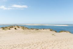 The dune of Pilat on the Arcachon Bay, France. View over the sandbank of Arguin from the dune of Pilat, or Pyla, in France, on the Arcachon Bay : the highest Royalty Free Stock Photos