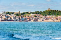 View over Scarborough South Bay harbor in North Yorskire, England Royalty Free Stock Images