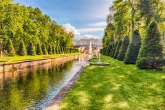 View over the Sea Channel in Peterhof Gardens, Russia Stock Photo