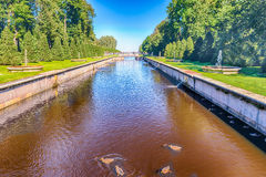 View over the Sea Channel in Peterhof Gardens, Russia Stock Photos
