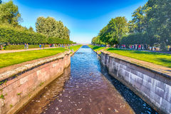 View over the Sea Channel in Peterhof Gardens, Russia Stock Photography