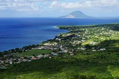 A view over seashore of Saint Kitts Island, St. Kitts and Nevis Stock Images