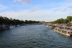 View over Seine River from Eiffel Tower in Paris, France Royalty Free Stock Images