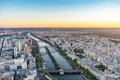 View over the Seine river in Paris from Eiffel Tower royalty free stock photography