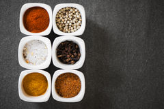 View over several pots with ground spices Royalty Free Stock Photography