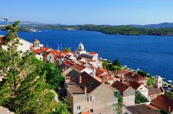 View over Sibenik and the Adriatic Sea Royalty Free Stock Image