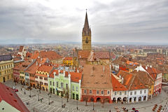 View over Sibiu city in Romania. Wide shot of Sibiu city in Romania. The Reformed Church tower in the middle Royalty Free Stock Image