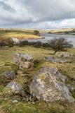 View over Siblyback Reservoir Dam, Cornwall stock photos