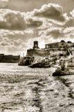 View over Siege Bell War Memorial, Monument in Valletta, Malta Stock Image
