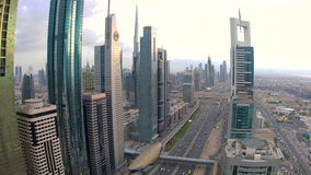 View over skyscrapers lining Sheikh Zayed Road stock video