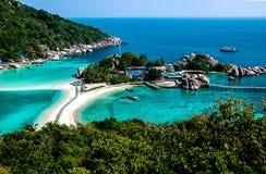 View over small idyllic island Royalty Free Stock Image