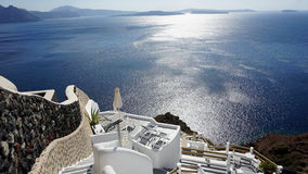 View over small oia village on santorini island Stock Photography