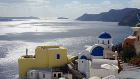 View over small oia village on santorini island Royalty Free Stock Photos