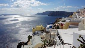 View over small oia village on santorini island Stock Image