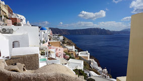 View over small oia village on santorini island Stock Images