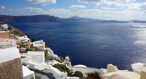 View over small oia village on santorini island Royalty Free Stock Photo