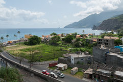 View over small town at coastline of cape verde Royalty Free Stock Photography