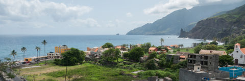 View over small town at coastline of cape verde Royalty Free Stock Images