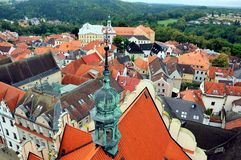 View over town of Pisek from the bell-tower, Southern Bohemia, Czech Republic stock photo