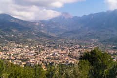 View over Sollèr, Majorca. View over the old town of Sollèr, Majorca, Spain stock photo