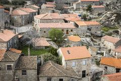 A view over Sortelha village with typical houses. Sabugal, Portugal Stock Image