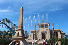 View over the square obelisk and temple at the roller coaster Osiris in Park Asterix, Ile de France, France Stock Photo