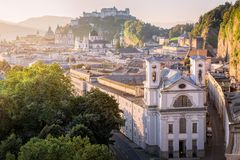 View over Stadt Salzburg in the morning in summer, Salzburg Stock Photography