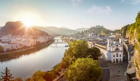 View over Stadt Salzburg with Salzach river in the morning in su Stock Photo