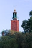 View over Stockholm City Hall. With Trees and a Blue Sky Stock Image