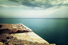 View over stormy sea and clouds Royalty Free Stock Image