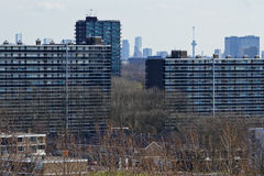 View over suburb with skyline Stock Photography