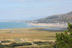 A view over sunny cardigan bay from the hills above Royalty Free Stock Photos
