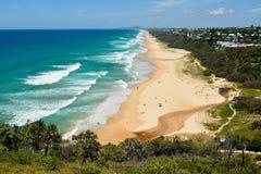 View over Sunshine Beach in Noosa, Australia. View over Sunshine Beach south of Noosa, QLD, with people stock photography