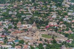 View over the Svetitskhoveli Cathedral from a hilltop in Mtskhet Stock Image